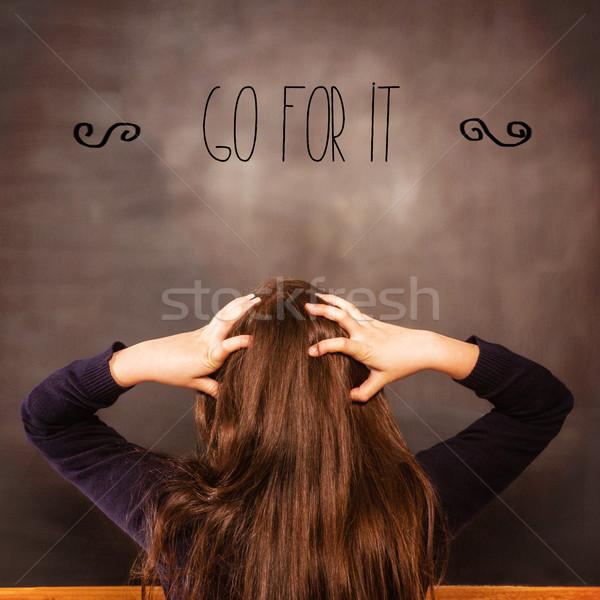 Zavart néz tábla lány iskola gyermek Stock fotó © wavebreak_media