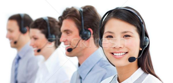 Stock fotó: Tolakodó · üzletemberek · ügyfélszolgálat · beszél · headset · számítógép
