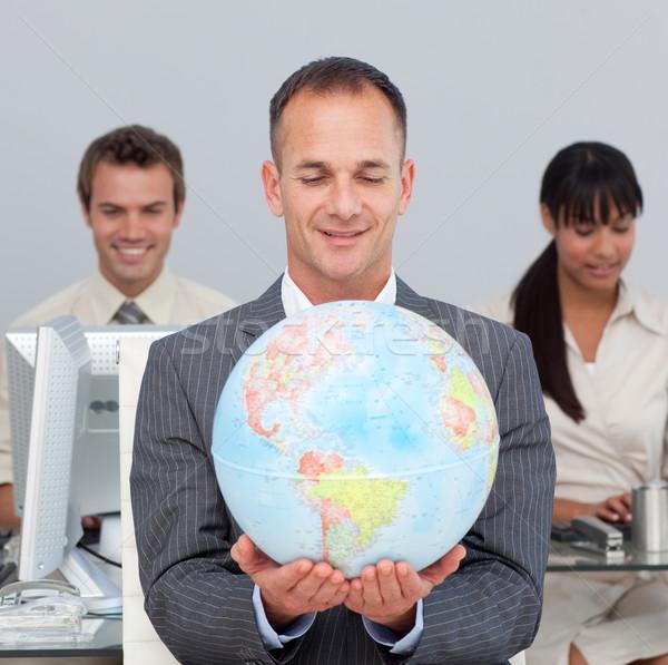 マネージャ 笑みを浮かべて グローバル コンピュータ オフィス ストックフォト © wavebreak_media