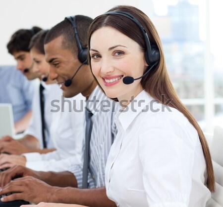 Obsługa klienta call center zestawu komputera szczęśliwy mikrofon Zdjęcia stock © wavebreak_media