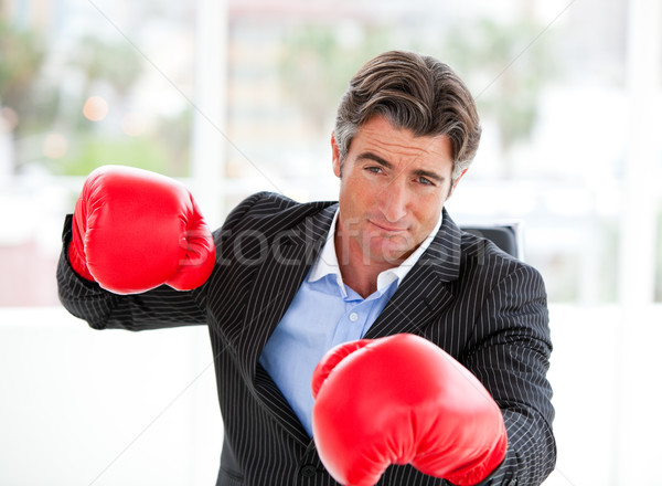 Furious businessman wearing boxing gloves Stock photo © wavebreak_media