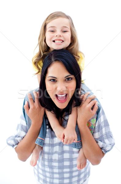 радостный матери комбинированный дочь изолированный белый Сток-фото © wavebreak_media