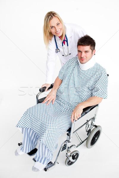 Beteg nyak gyönyörű orvos ül orvosi Stock fotó © wavebreak_media