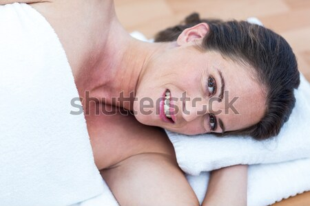 Serious woman doing sit-ups with a pilates ball Stock photo © wavebreak_media