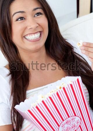 счастливым женщину прачечной белый дома фон Сток-фото © wavebreak_media