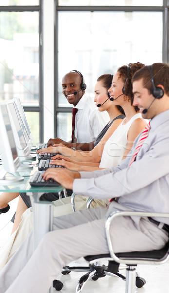 Etnicznych biznesmen pracy call center koledzy komputera Zdjęcia stock © wavebreak_media