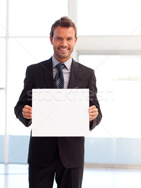 Foto stock: Guapo · sonriendo · empresario · blanco · tarjeta