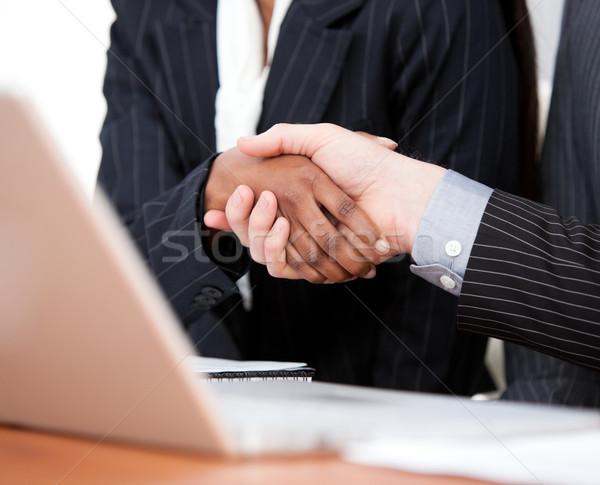 El sıkışma iki işadamları dizüstü bilgisayar ofis Stok fotoğraf © wavebreak_media