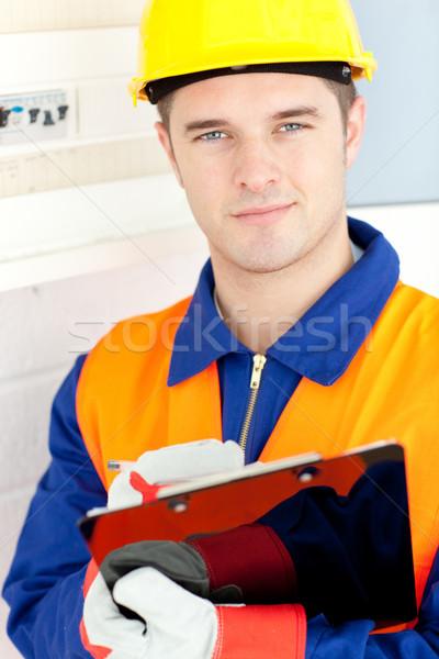 Gelukkig elektricien macht plan werk Stockfoto © wavebreak_media