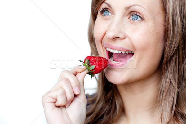 еды клубники белый счастливым фрукты Сток-фото © wavebreak_media