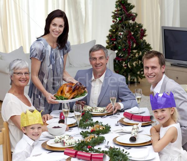 Familia Navidad cena Turquía casa Foto stock © wavebreak_media