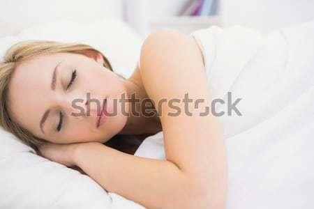 close up of a sleeping dark-haired woman lying under sheet in bedroom Stock photo © wavebreak_media