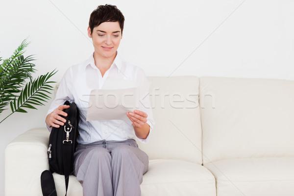 Işkadını bekleme odası kadın çiçek para Stok fotoğraf © wavebreak_media