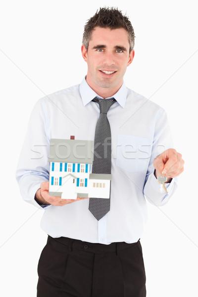 Empresario clave miniatura casa blanco Foto stock © wavebreak_media
