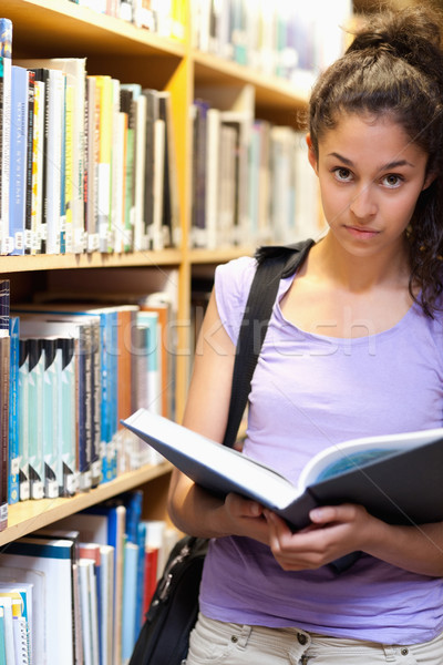 Stock fotó: Portré · komoly · női · diák · tart · könyv
