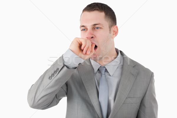 Fáradt üzletember ásít fehér üzlet iroda Stock fotó © wavebreak_media