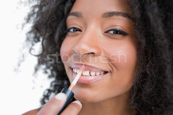 Donna lip gloss bianco moda sfondo pelle Foto d'archivio © wavebreak_media