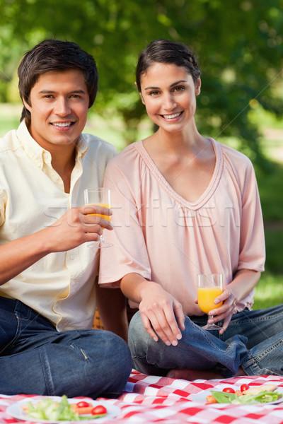 женщину друга улыбаясь очки апельсиновый сок Сток-фото © wavebreak_media