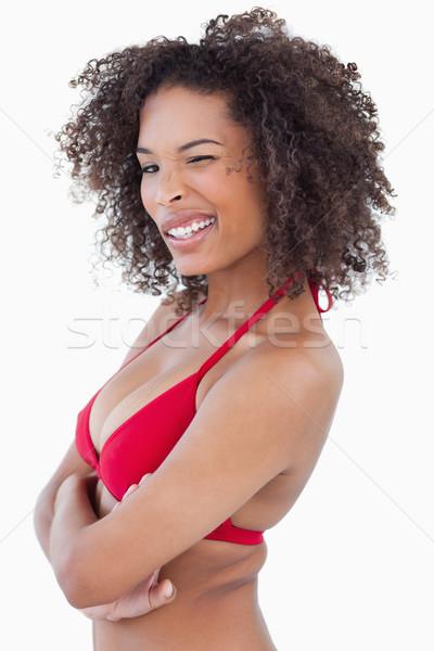 Vista lateral ojo blanco feliz pie Foto stock © wavebreak_media