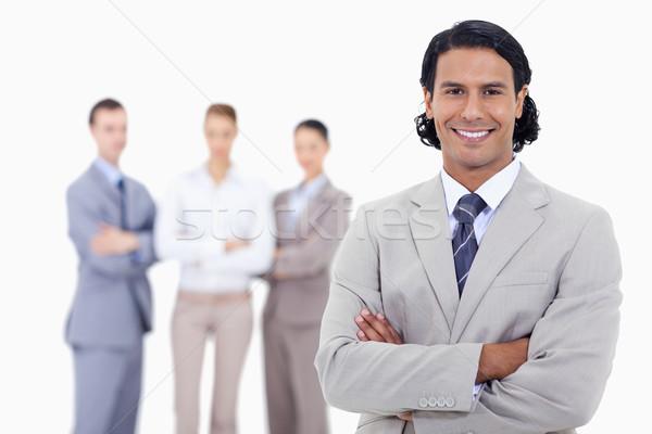 ストックフォト: クローズアップ · ビジネスマン · 笑みを浮かべて · 腕 · 深刻 · 人