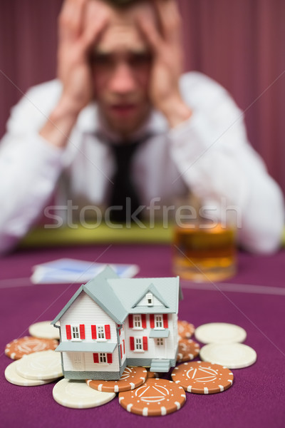 Adam ev poker oyun el tablo Stok fotoğraf © wavebreak_media
