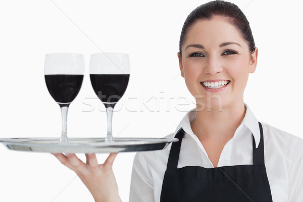 Gelukkig serveerster twee glas wijn Stockfoto © wavebreak_media