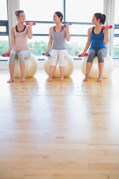 Nők emel súlyok beszél testmozgás golyók Stock fotó © wavebreak_media