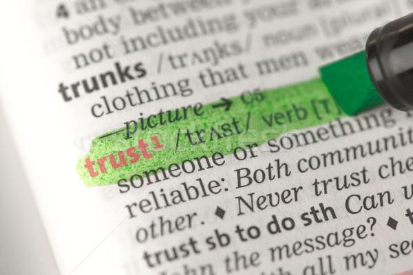 Trust definition highlighted in green Stock photo © wavebreak_media