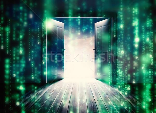 Composite image of doors opening to reveal beautiful sky Stock photo © wavebreak_media