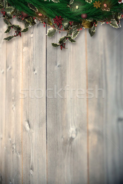 Composite image of festive christmas wreath with decorations Stock photo © wavebreak_media