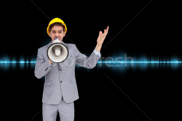 Composite image of architect with hard hat shouting with a megap Stock photo © wavebreak_media