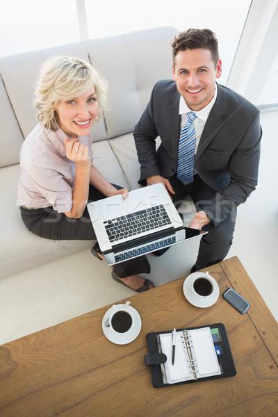 üzletember titkárnő laptop napló otthon magasról fotózva Stock fotó © wavebreak_media
