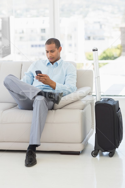 Businessman sending a text sitting on sofa waiting to depart on  Stock photo © wavebreak_media