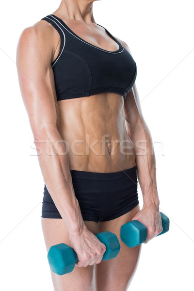 Weiblichen Bodybuilder halten zwei Hanteln Arme Stock foto © wavebreak_media