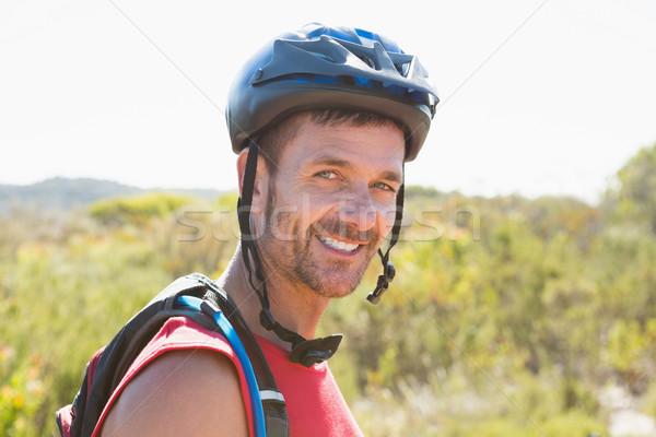 フィット サイクリスト 笑みを浮かべて カメラ 国 地形 ストックフォト © wavebreak_media
