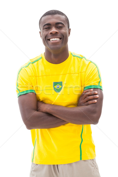 Boldog futball ventillátor mosolyog kamera fehér Stock fotó © wavebreak_media