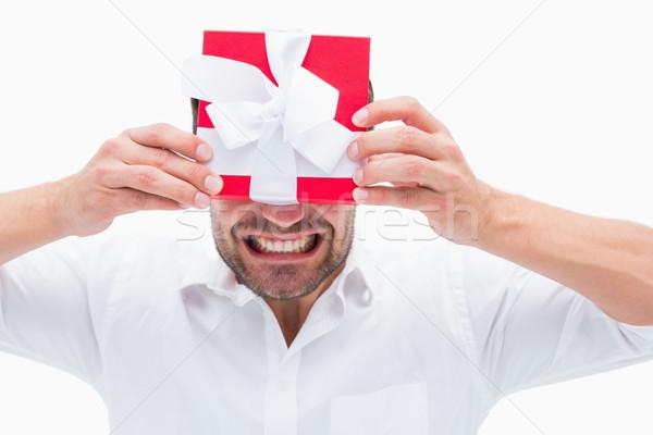 Uomo presenti bianco rosso Foto d'archivio © wavebreak_media
