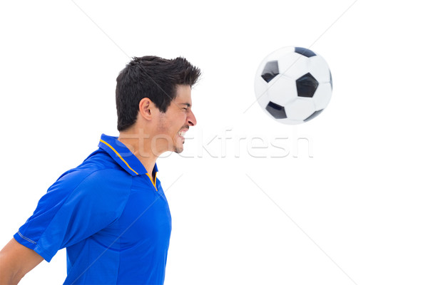 Futballista kék labda fehér sport futball Stock fotó © wavebreak_media