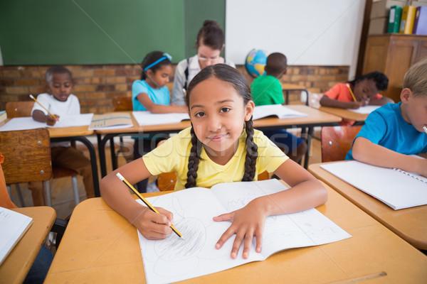 Aranyos iskolás ír asztal osztályterem általános iskola Stock fotó © wavebreak_media