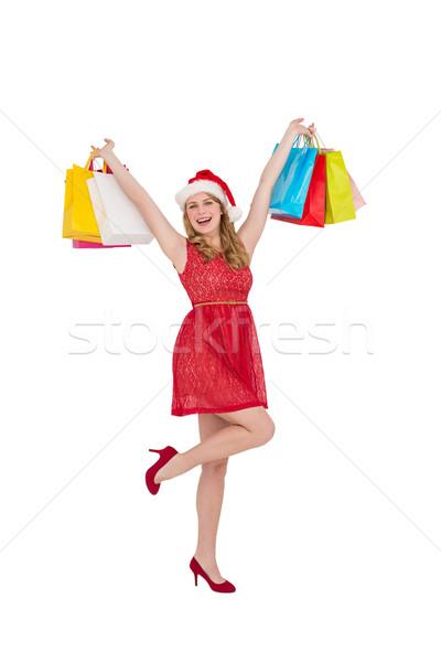 Stock fotó: Csinos · nő · mikulás · kalap · magasra · tart · bevásárlótáskák · fehér