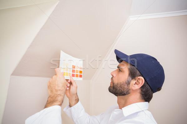 Pintor consulta color tabla casa Foto stock © wavebreak_media