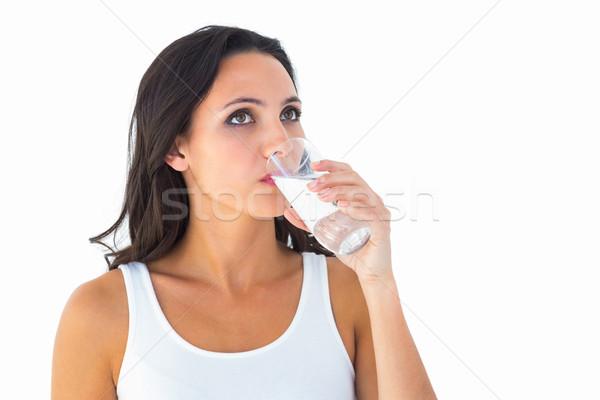 Dość brunetka wody biały szkła Zdjęcia stock © wavebreak_media