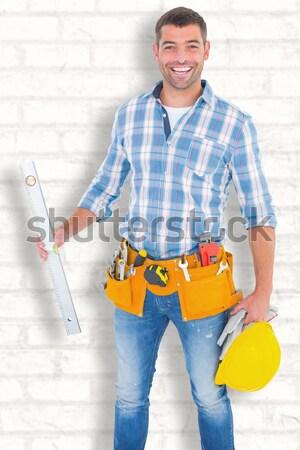 Portré boldog szerelő áll keresztbe tett kar teljes alakos Stock fotó © wavebreak_media
