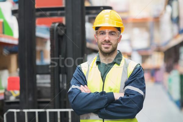 Manual worker wearing hardhat and eyewear Stock photo © wavebreak_media
