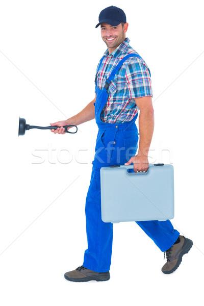 Feliz encanador caixa de ferramentas caminhada branco Foto stock © wavebreak_media