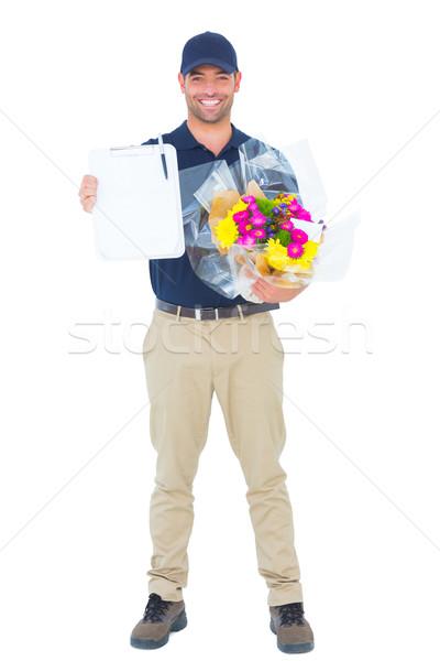 Flor mensajero portapapeles retrato Foto stock © wavebreak_media