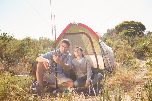 Apa fia vmi mellett sátor vidék napos idő férfi Stock fotó © wavebreak_media