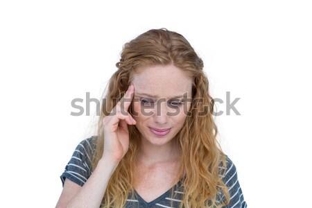 Mulher loira dor de cabeça branco mulher mãos cabeça Foto stock © wavebreak_media