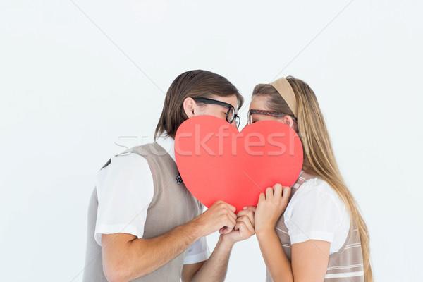 ヒップスター キス 後ろ 中心 カード 白 ストックフォト © wavebreak_media