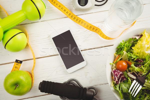 Mesa de madera alimentos vidrio salud Foto stock © wavebreak_media